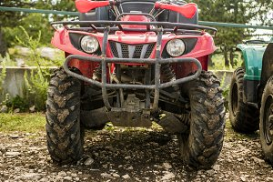 atv in a mountain parking zone on a