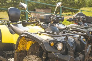 row of atv power bikes on a summer d