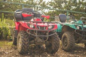 close up atv quad bike on a diry gro