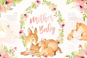 Mother & Baby Watercolor Clipart