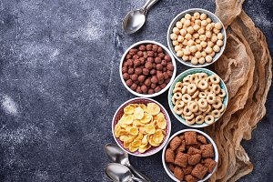 Selection of various corn flakes for
