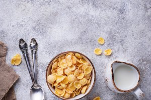 Sweet cereal corn flakes in bowl