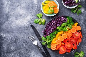 Fresh healthy vegetarian rainbow