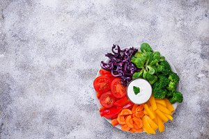 Healthy salad from rainbow