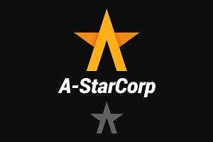 Letter A logo. A-shaped star.