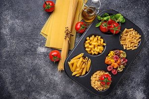 Various type of pasta and cherry