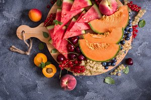 Sliced watermelon, cantaloupe, cherr
