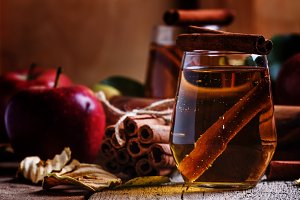 Apple cider with cinnamon, vintage w