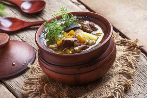 Soup with mushrooms, beef and barley