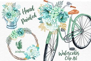 Mint Watercolor Flowers Clipart