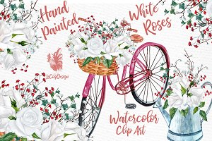 Watercolor white roses clip art