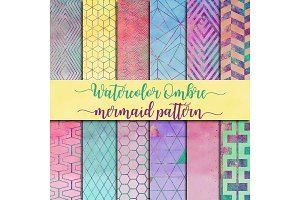 Watercolor Ombre & Mermaid Pattern