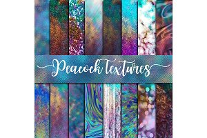 Peacock Textures Digital Paper