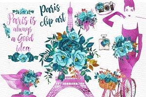 Paris Watercolor clip art