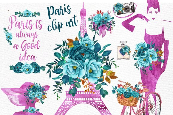 Paris Watercolor clip art