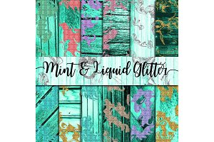 Mint Wood & Liquid Glitter Paper