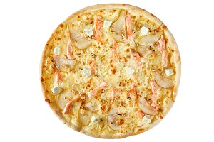 Pizza with seafood, mozzarella