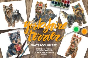 Yorkshire terrier watercolor set