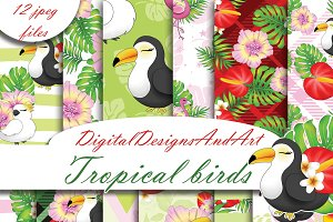 Tropical bird digital paper
