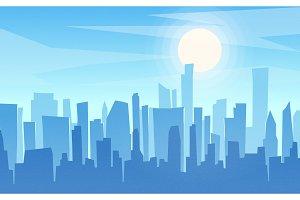 Daytime cartoon flat style cityscape
