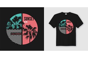 Sunset Blvd California tshirt design