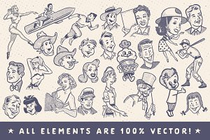 Retro Style Ad Characters