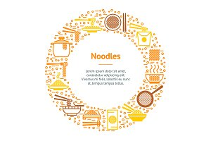 Noodle Thin Line Set. Vector
