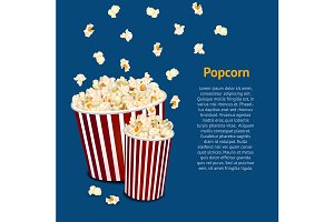 3d Popcorn Snack Card. Vector