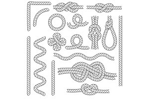 Rope Knots Borders Line Set. Vector