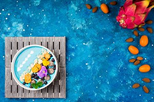 Blue smoothie bowl with fruits