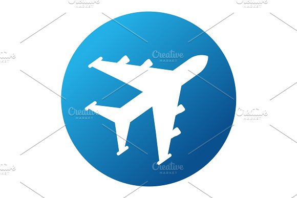 white plane on blue background