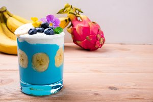 Healthy smoothie with banana fruits