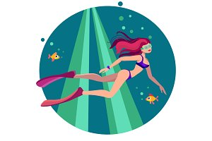 Summer illustration of diving girl