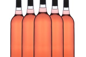 Group of Blush Wine Bottles