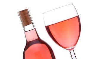 Blush Wine Bottle And Glass