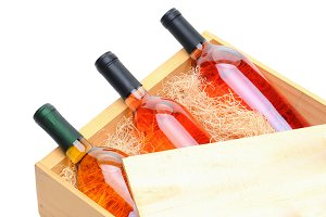 Blush Wine Bottles in wooden crate
