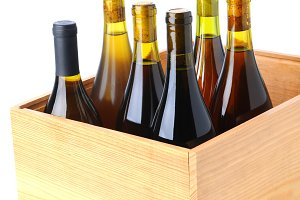 Bottles of Chardonnay Wine in Wood C