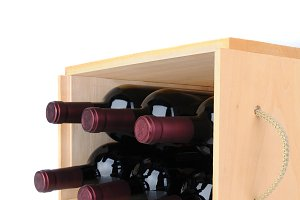 Wine Bottles in Wood Crate on Side