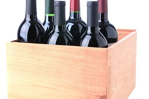 Red Wine Bottles in Wood Crate