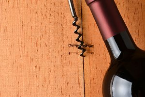 Cabernet Bottle and Corkscrew on Woo