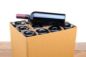 Case of Wine with Bottle on Top