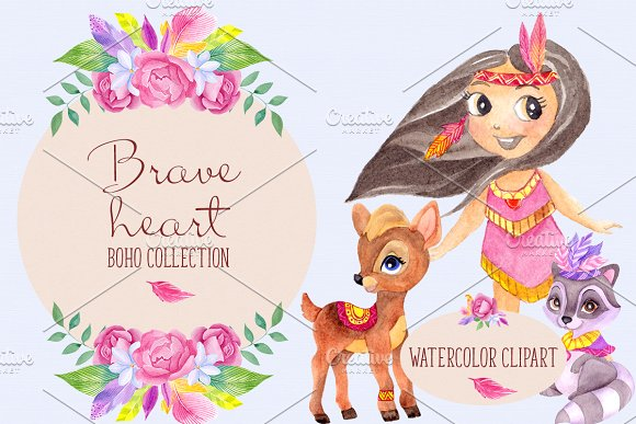 Brave heart. Boho collection. in Illustrations