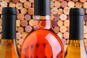 Closeup Wine Bottles in Front of Cor