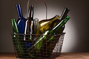 A Wire Shopping Basket Filled With E
