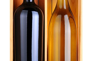 Cabernet and Chardonnay Bottles in W