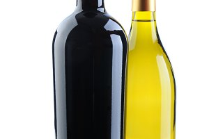 Chardonnay and Cabernet Wine Bottles