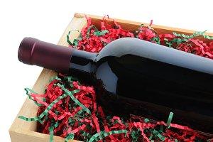 Wine Bottle Packed for Christmas