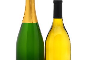 Chardonnay and Champagne bottles