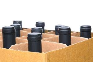 Closeup Wine Bottles in Box