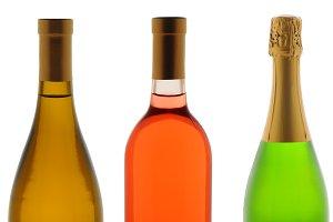 Closeup Three WineBottles